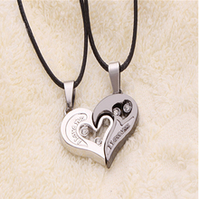 2 Pcs Stylish His and Hers Heart Pendant English Letters Couples Love Necklaces