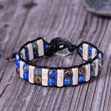 New Bohemia Bracelet Amazonite Single Vintage Leather Wrap Bracelet Semi Precious Stone Beaded Cuff Bracelet Dropshipping