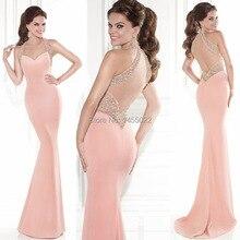 Abendkleider 2016 Neue Halter Perlen Mermaid Rosa Prom Kleider Backless Luxus Lange Kristall Abendkleid Vestido de Festa