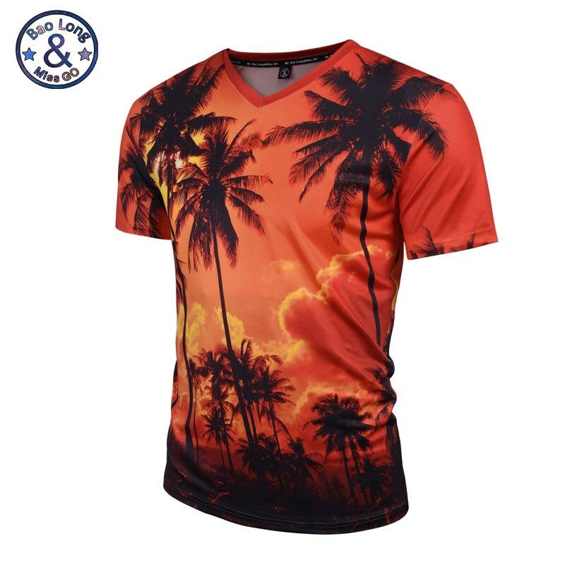 Mr. baolong 2017 Nuevo verano árbol de coco 3D impreso mujer/hombres Harajuku nightfall Hawaiano camiseta envío de la gota