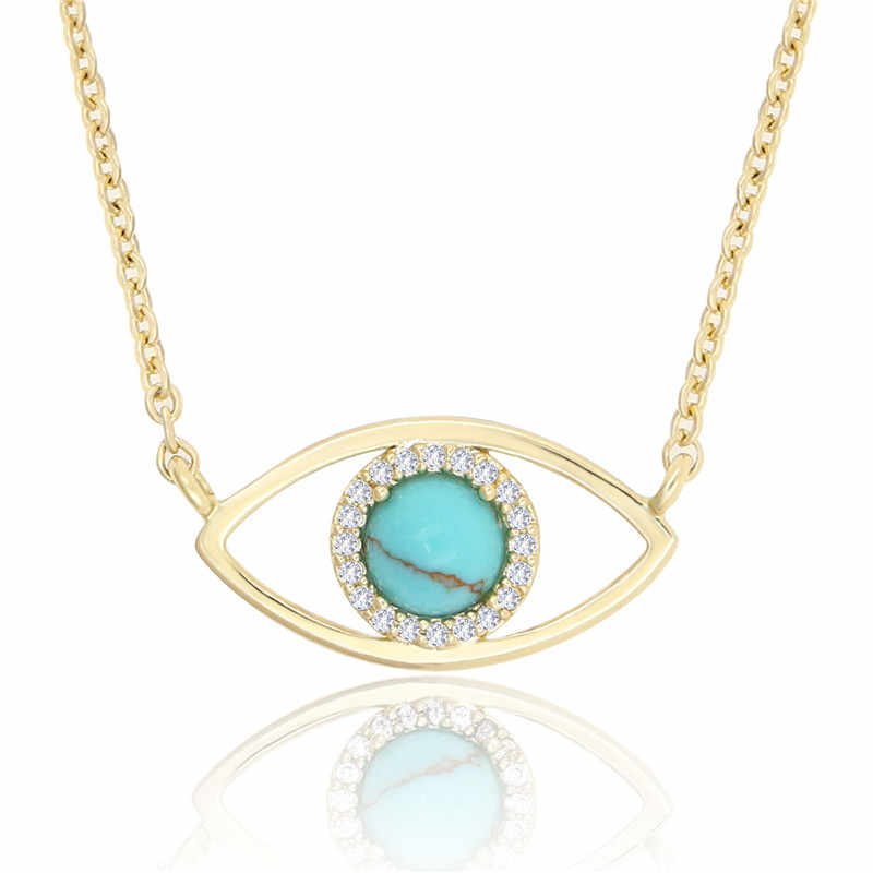 2019 ladies exquisite Eye Evil Pendant Necklace Women Jewelry Gifts Charm Cubic Zirconia Necklace adjustable chain Necklace