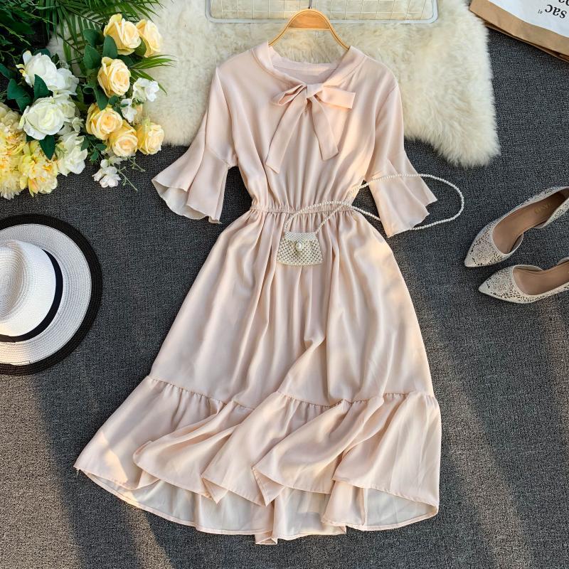FTLZZ 2019 New Women Sweet Ruffle Dress Summer Flare Sleeve Bow Casual Ball Gown Midi Dress Vestidos 30