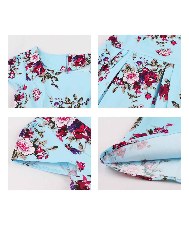 Retro Vintage Floral Print A-Line Dress 6