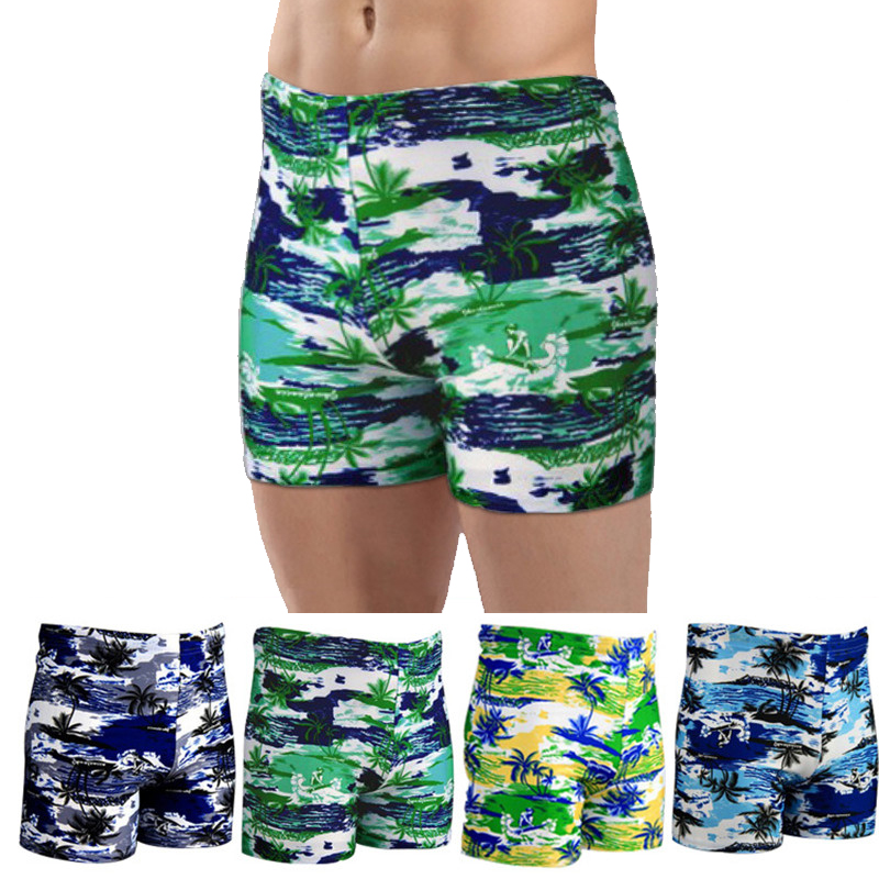 Gay Men Sexy Swimwear Summer Beach Shorts Surf Swimming Trunks Plus Size Swim Briefs Boxer 4 Colors