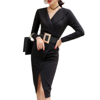 Black Nice forever Vintage Elegant Sexy Split to Work with Belt Peplum vestidos Business Party Bodycon Office Career Women Dress