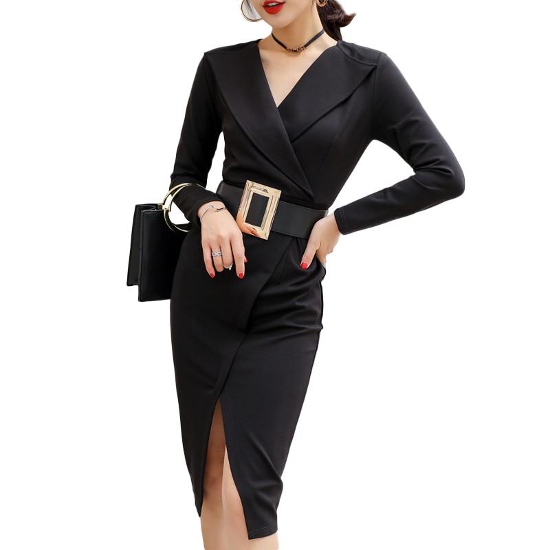 Noir Nice-forever Vintage élégant Sexy Split pour travailler avec ceinture Peplum vestidos Business Party moulante bureau carrière femmes robe
