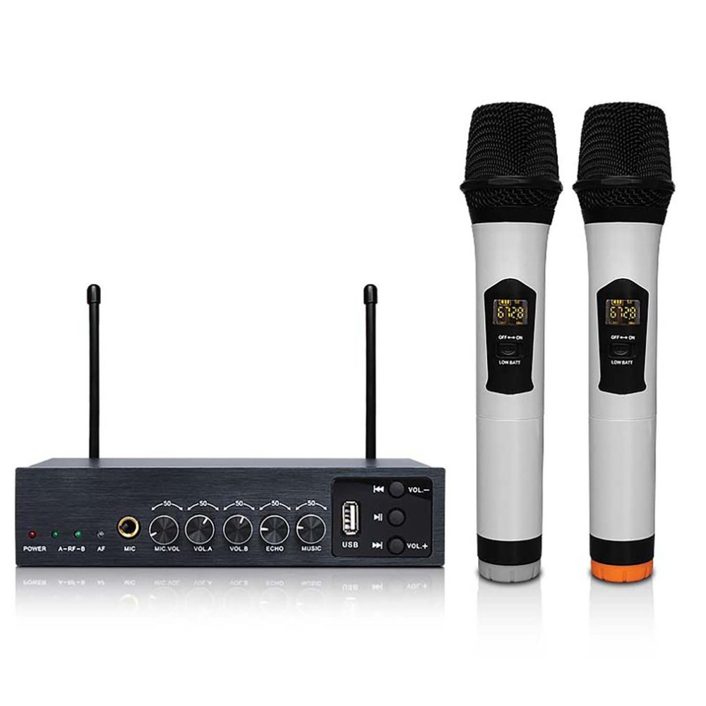Professional Dual Wireless Microphone System Stage Performances Wireless Microphone Handheld Wireless Dynamic MicrophoneProfessional Dual Wireless Microphone System Stage Performances Wireless Microphone Handheld Wireless Dynamic Microphone