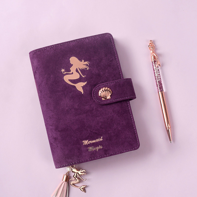 purple Mermaid A6 Loose-leaf Peripheral Free Planner Spiral Notebook Cute Notebook Personal Planner A6 Stationery A6 Planner