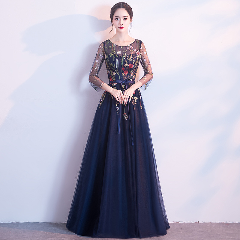 Elegant Slim Women O-Neck Improved Cheongsam Mesh Sleeve Sexy Floor Length Evening Dress Floral Bridesmaid Wedding Party Gown