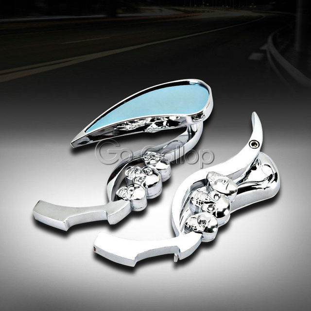 Chrome גולגולת Rearview מראות עבור הארלי דוידסון Softail Sportster Dyna סיור XL 883 1200 רחוב בוב ופר קרוזר Bobber