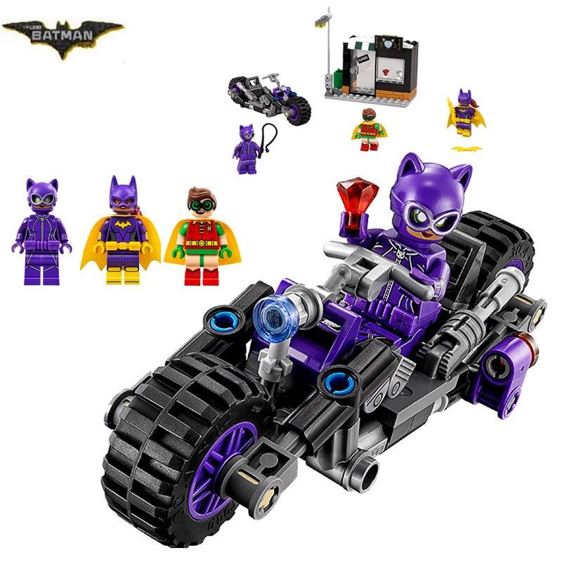 2017 New LEPIN 07058 Batman Movie Catwoman Catcycle Chase Man-Bat Building Block Toys Gift For Children Batman 70902