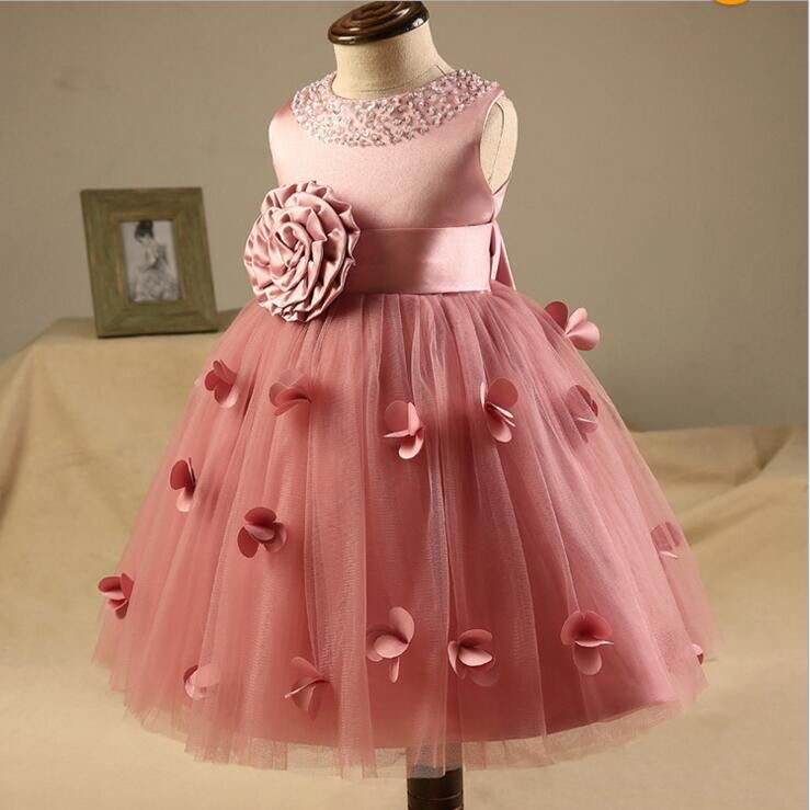 kids wedding dress costume girls summer sweet party formal diamond butterfly silk floral princesse follower evening