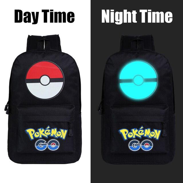7afeb4cd59 Harajuku Pocket Monster Pokemon Canvas Backpack Japan Anime Luminous  Schoolbag for Teenagers Cartoon Travel Shoulder Bag Mochila