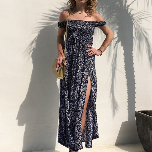Women Sexy Dress 2018 Summer Off Shoulder Floral Print Chiffon Mexi Long  Split Dress Boho Style Party Club Flower Beach Dresses 9b69277257f