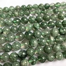Rodada contas de pedra de cristal natural pedra preciosa verde DIY contas solta pérolas para a jóia fazendo strand 15