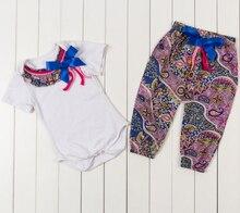Baby girl Short Sleeves T shirt and Pants Girls Bodysuit Jumpsuit children set Baby pompom Body