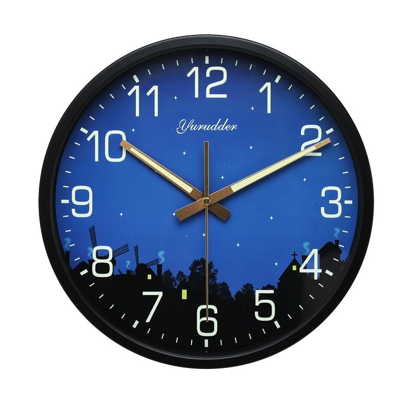최신 12 인치 밤 스타 디자인 금속 프레임 현대 패션 라운드 벽 시계 LUMINOVA 장식 벽 시계