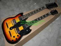 12 cuerdas 1275 Doble Cuello Led Zeppeli Página Firmado cuerpo Envejecido sunburst 12 cuerdas de guitarra Eléctrica