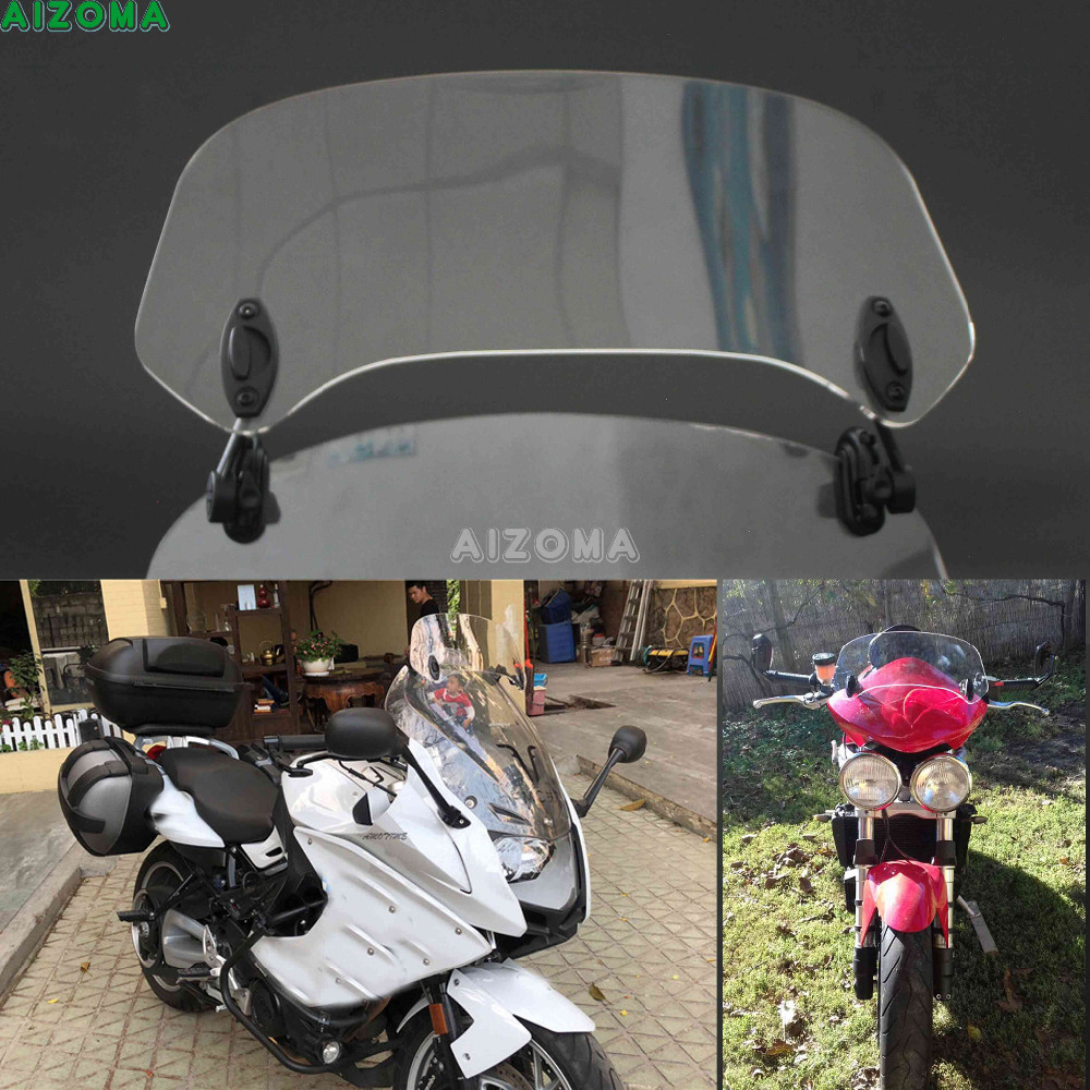 11'' Transparent Adjustable Clip On Windshield Spoiler Extension Wind Screen For Harley Victory Triumph Yamaha Ducati Kawasaki adjustable clip on windscreen windshield extension spoiler wind deflector adjustable lockable for motorcycle