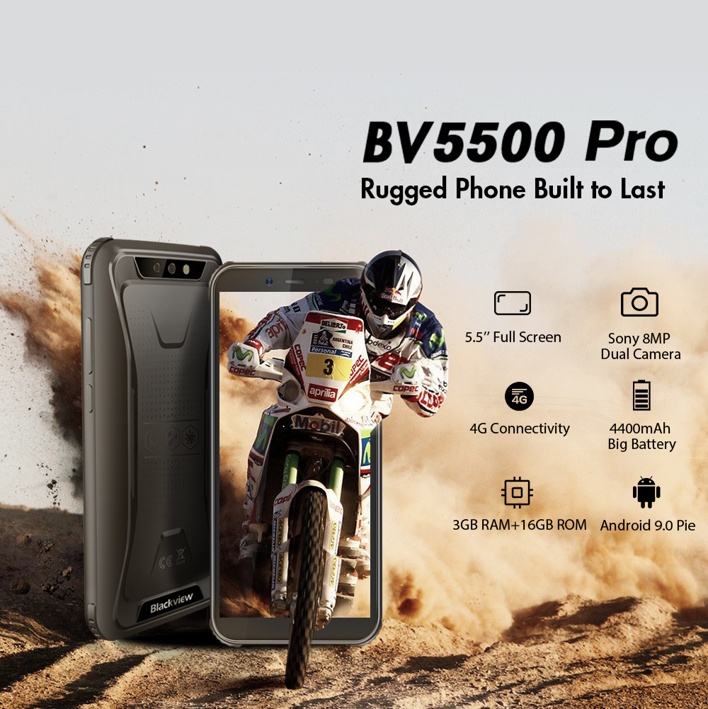 "Image 2 - Blackview BV5500 Pro 4G IP68 Waterproof Smartphone 3GB+16GB 5.5"" 18:9 Screen 4400mAh MT6739V Android 9.0 Dual SIM Mobile Phone-in Cellphones from Cellphones & Telecommunications"