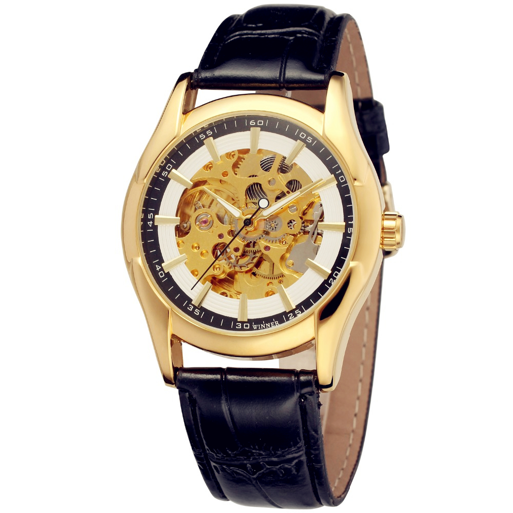 Fashion WINNER Men Luxury Brand Gold  Skeleton Leather Casual Watch Automatic Mechanical Wristwatches Gift Box Relogio Releges fashion winner men luxury brand cool skeleton leather band watch automatic mechanical wristwatches gift box relogio releges 2016