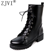 ZJVI Women mid calf snow boots autumn winter square heels female 2019 woman Lace up Black round toe Warm fur Platform Shoes lovely hello kitty round toe platform heels sweet princess lolita cosplay lace up winter boots