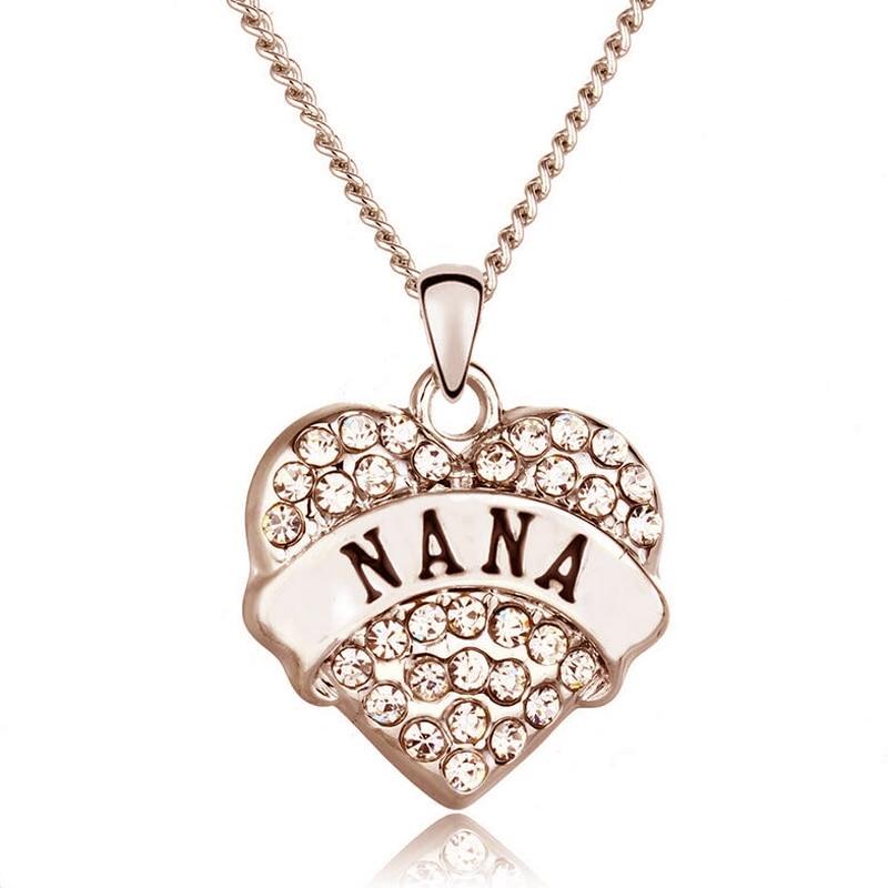 Familie Weihnachtsgeschenk Nana Buchstaben Halskette Frauen Kristall ...