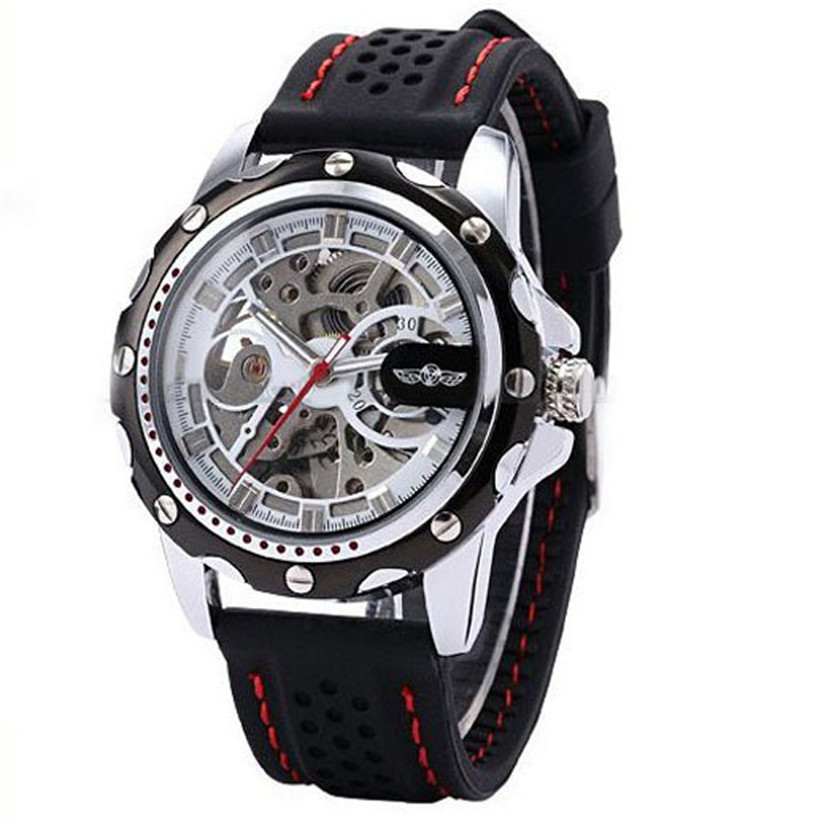 Perfect Gift Men Skeleton Wrist Watches Automatic Winding Mechanical Movement Watch Levert Dropship Jan3-17