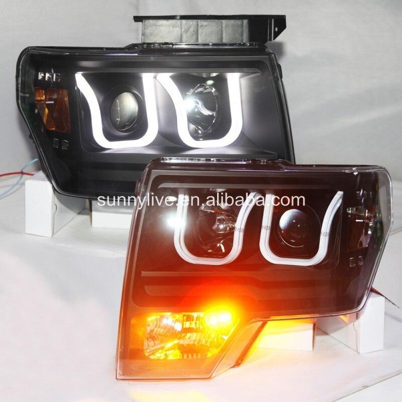 2008-2015 F150 Raptor  LED  U type Angel Eyes Head Light  Black Color LF teana angel eyes led head lights for nissan 2008 11 v4 type
