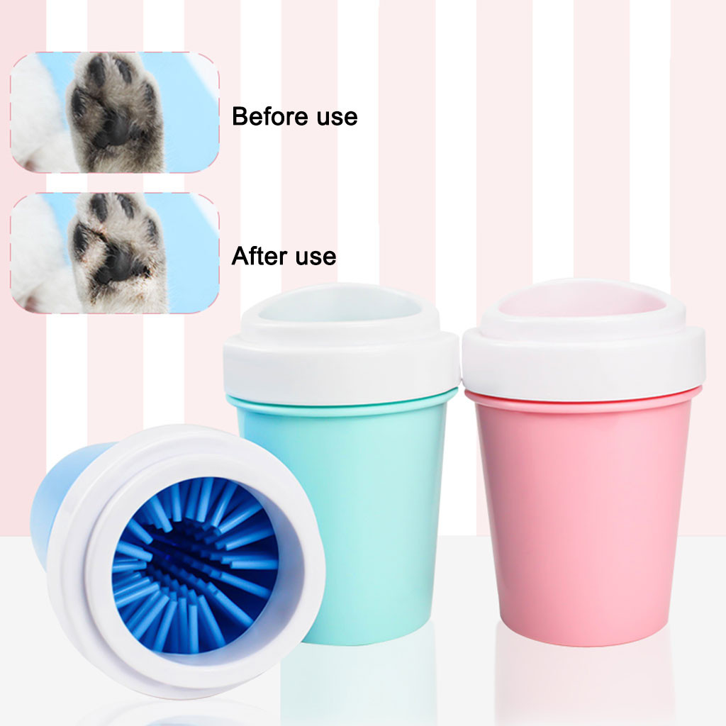 Portable <font><b>Dog</b></font> <font><b>Paw</b></font> <font><b>Cleaner</b></font> Cup Silicone Pet Cleaning Brush Cup <font><b>Dog</b></font> Foot <font><b>Cleaner</b></font> Feet Washer Quickly Clean Foot Washer Tool image