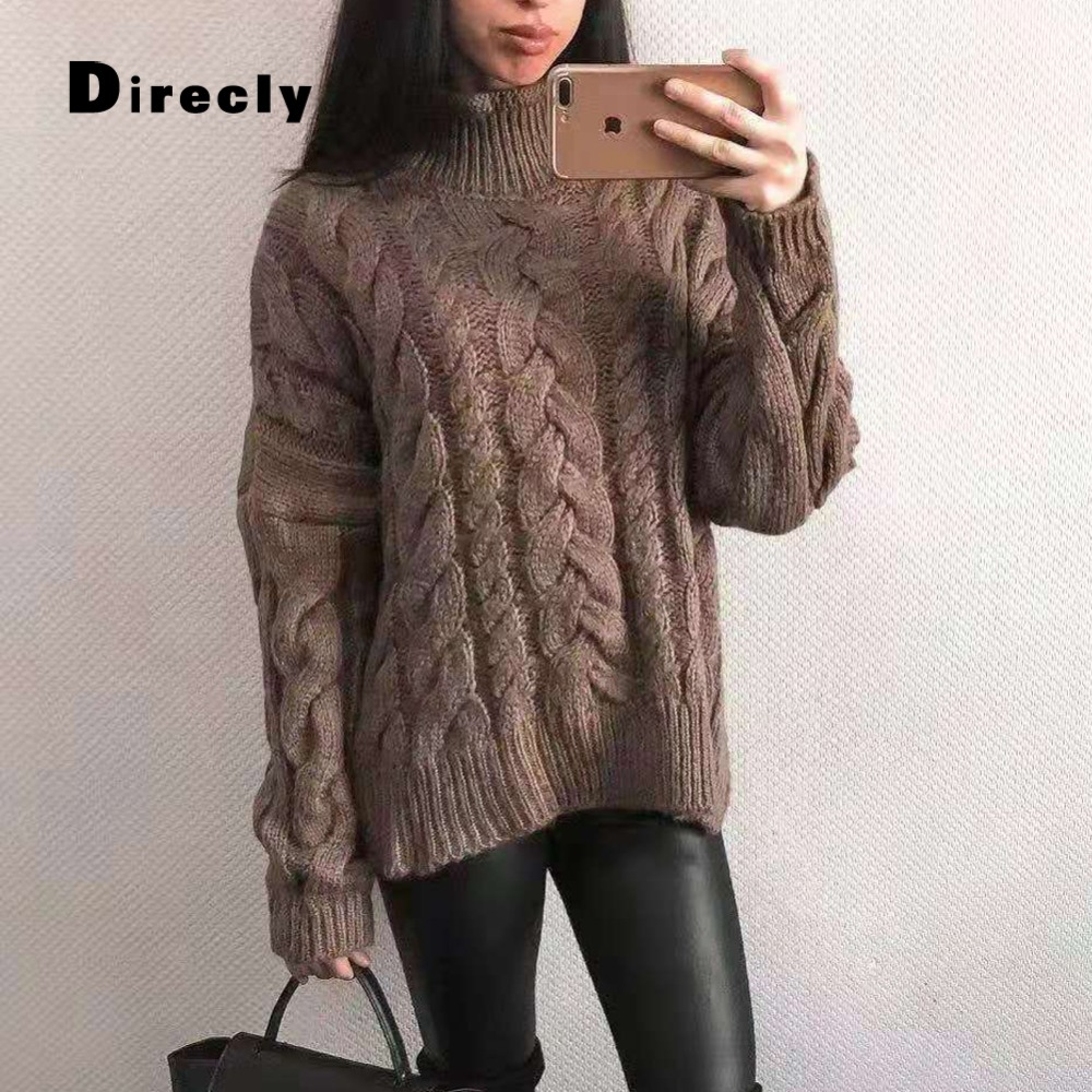 Direcly ladies's 2018 new autumn and winter ladies's excessive collar informal sweater free girls knitted pullover ladies's clothes Pullovers, Low cost Pullovers, Direcly ladies's 2018 new autumn and winter...