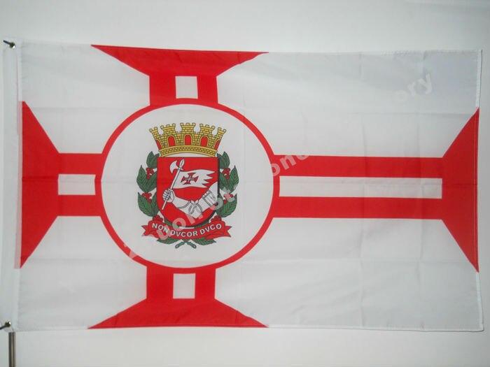 Sao Paulo Ville Drapeau 150X90 cm (3x5FT) 120g 100D Polyester Double Piqué de Haute Qualité Bannière Ensign Livraison Gratuite