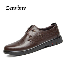 ZENVBNV 2017 New Arrival Solid men shoes genuine leather flat Casual shoes young Men's Shoes lace on men shoes wholesale 38~44