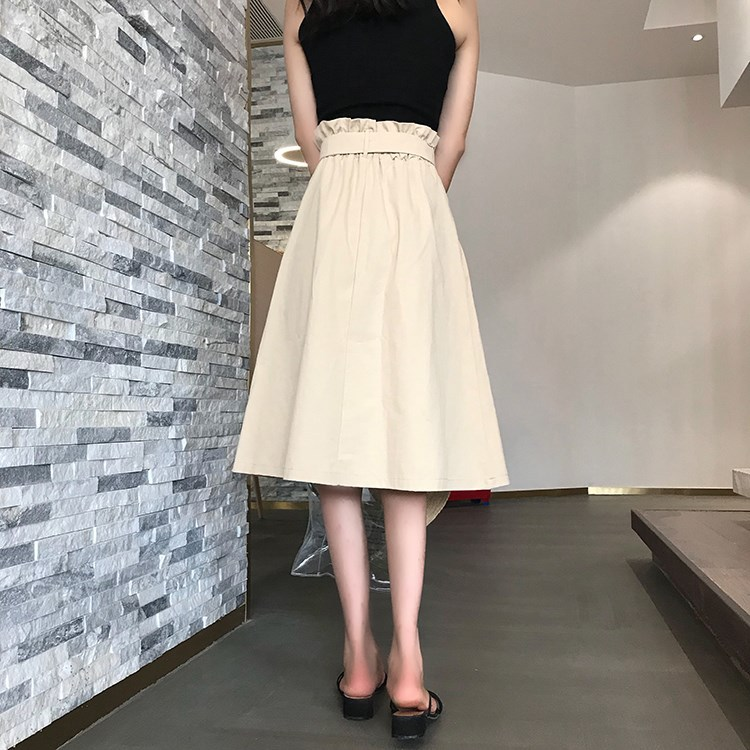 HTB1V7geXyDxK1RjSsD4q6z1DFXa3 - Summer Autumn Skirts Womens Midi Knee Length Korean Elegant Button High Waist Skirt Female Pleated School Skirt