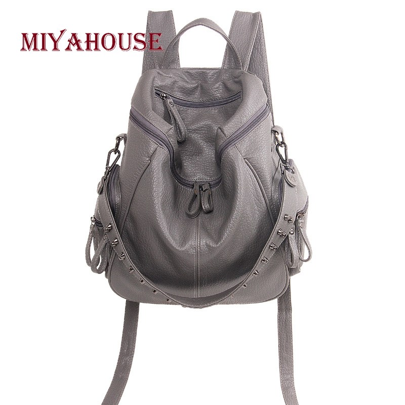 Miyahouse Multi-functio Rivet For Female Backpack Pu Leather Wide Strap Backpack Women Simple Style Rucksack Lady