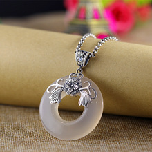 Sterling silver jewelry Ice of chalcedony handmade S925 PH7 retro women necklace Thai pendant