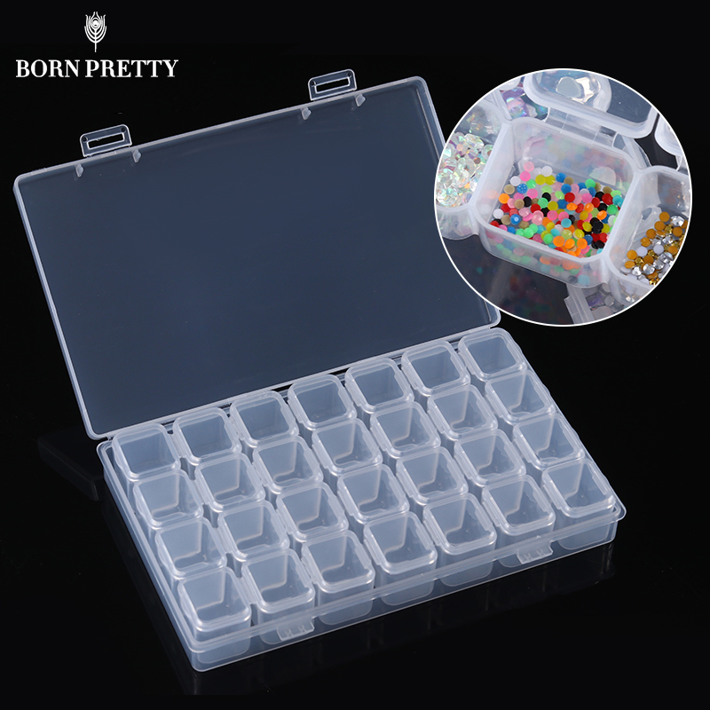 28 Lots Clear Plastic Empty Nail Storage Box Rhinestone Jewelry Beads Display Storage Box Case Nail Art Organizer Tool
