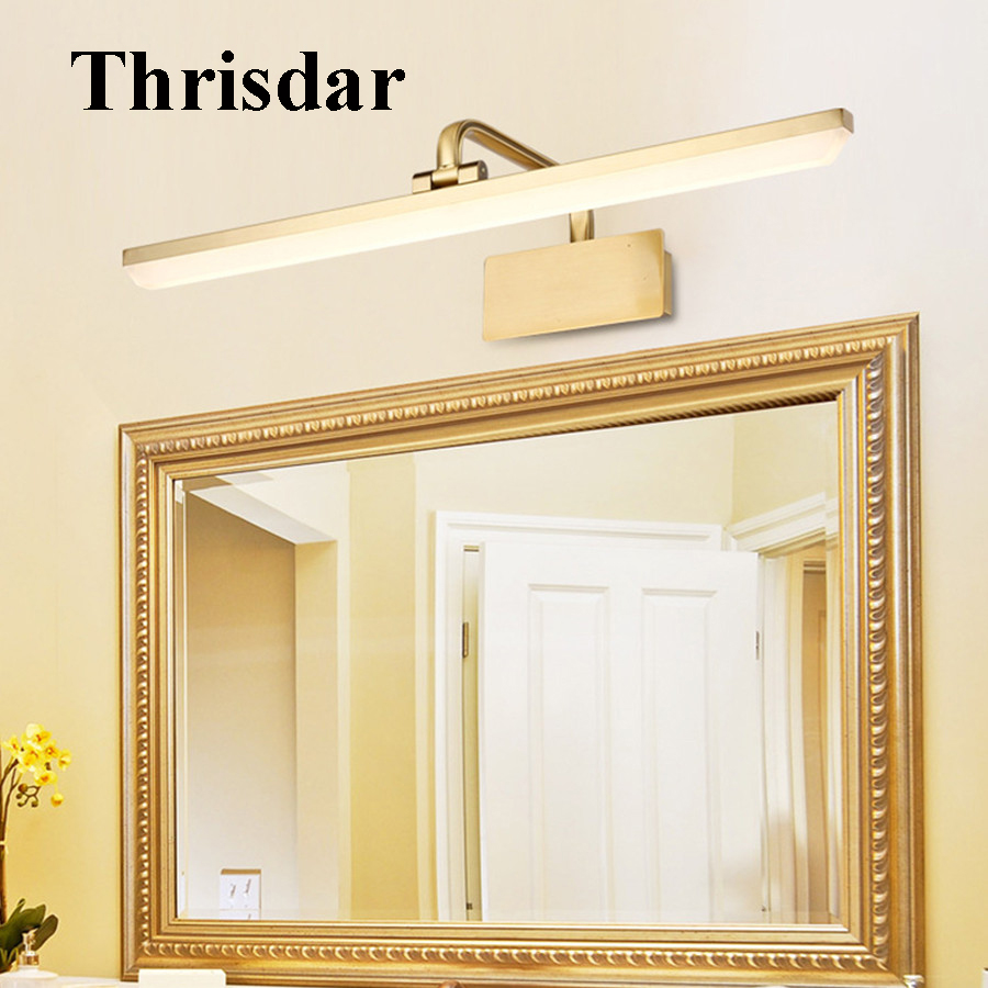 Thrisdar 50CM Bathroom LED Mirror Wall Light Modern Simple Makeup Dressing Table Mirror Wall Light European Vanity Mirror Light wooden dressing table makeup desk with stool oval rotation mirror 5 drawers white bedroom furniture dropshipping