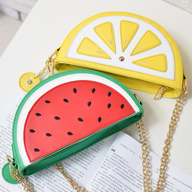 2019 été nouveau sac femme PU cuir femmes sac mignon fruit paquet chaîne épaule messenger sac orange pastèque fraise sac