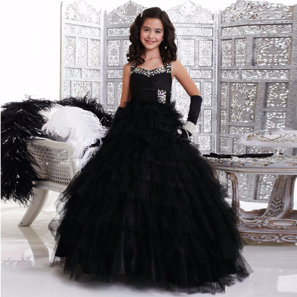 2017 halter black ball gowns floor length beaded princess black 2017 halter black ball gowns floor length beaded princess black tulle flower girl dresses for wedding party kids pageant gowns in flower girl dresses from izmirmasajfo Images