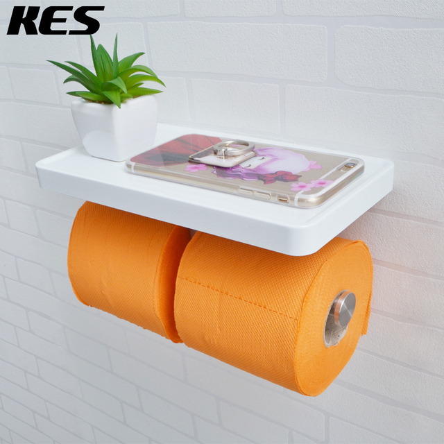 KES Bathroom Toilet Paper Double Roll Holder With Storage Shelf Organizer  Brushed T 304 Stainless