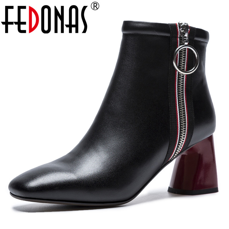 FEDONAS New Ankle Boots For Women Genuine Leather Autumn Winter Warm Snow Shoes Woman High Heels Retro Party Pumps Basic Boots fedonas fashion women winter ankle boots high heels zipper genuine leather shoes woman dress party riding boots warm snow boots