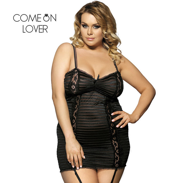 Comeonlover Babydoll Lingerie Black Sexy Lace Open Back Vestidos Sexys Eroticos Plus Size Stripe Sex Lingerie For Women RI7652