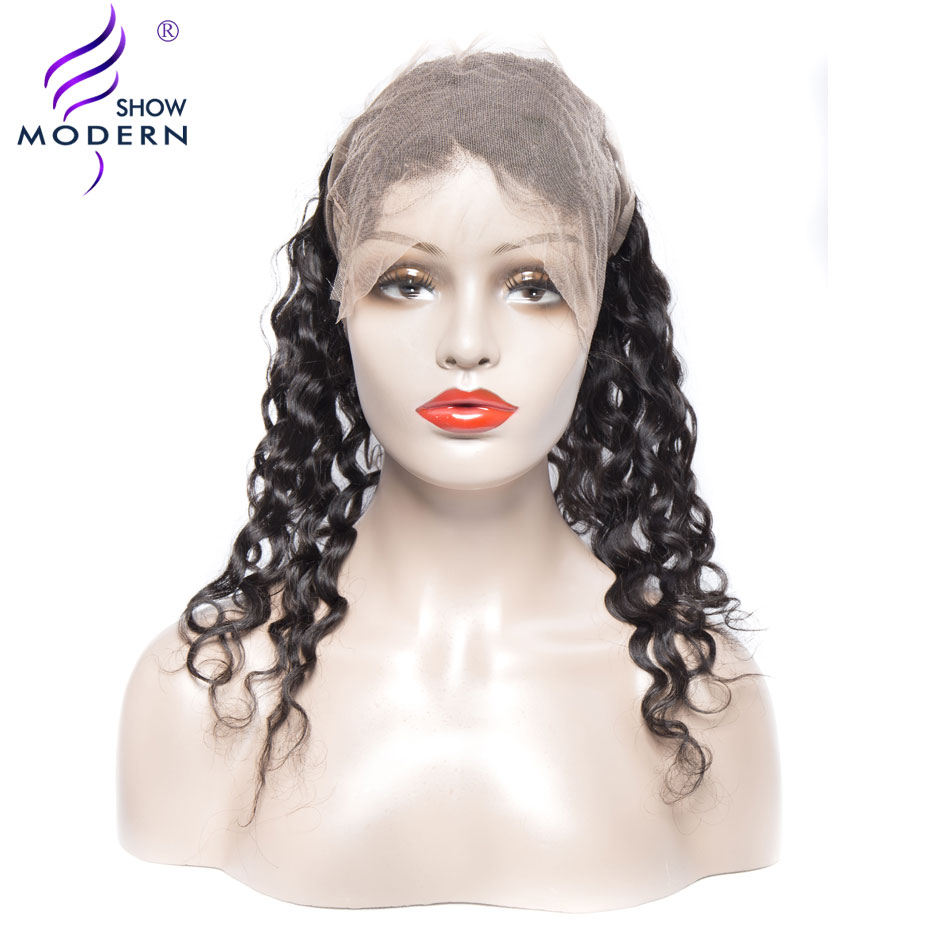 Modern Show Curly Hair 360 Lace Frontal Closure with Baby Hair Pre Plucked Remy Human Ha ...
