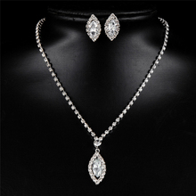 Water Drop Stud Earring Bride Jewelry Sets Pendant Necklace Crystal Magic Space Jewelry Set For Women