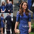 Kate Middleton Maternity Dress High Neck Lace Half Sleeve Sheath Short Royal Blue Elegant Evening Gowns Cocktail Dresses CD074