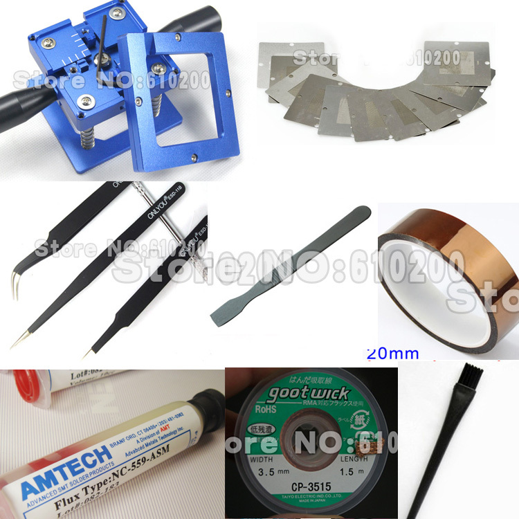 Freeshipping 90*90mm Blue Handgrip BGA Reballing Station Bga Reballing Stencil Kit for BGA Universal stencil +Tweezers +Flux.... freeshipping 100% new intel 82801hbm ic chipset with bga stencil 90mm nh82801hbm