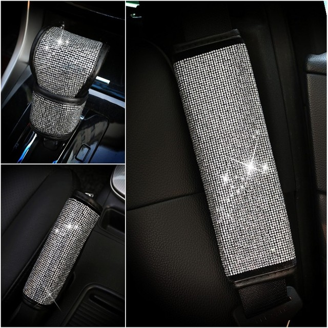 Full Diamond Crystal Auto Handbrake Cover Gear Shifter Seat Belt Cover For Girls Car Styling Interior Decoration Accessories