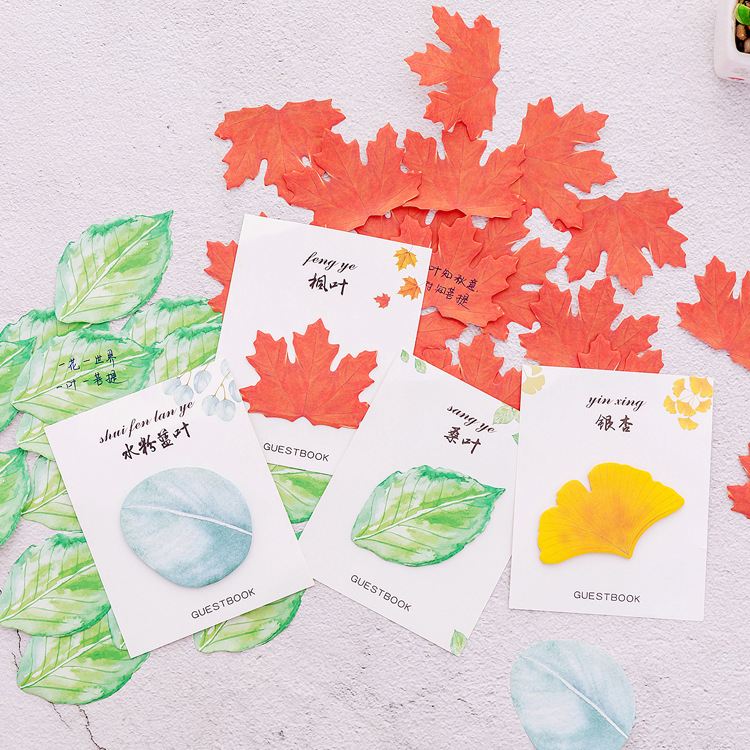 Novelty Various Leaf Memo Pad Sticky Note Paper Sticker Kawaii Stationery Pepalaria Office School Supplies Learning Tools