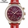 GUANQIN Часы Женщины 2016 Новый Роскошный Ювелирные Изделия Кожа Кварцевые Часы Дамы Мода Повседневная Хронограф Дата Часы relogio feminino